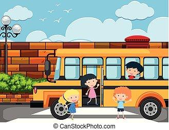 autocarro, escola, desligado, crianças, obtendo