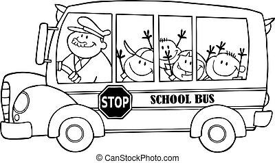 autocarro, escola, esboçado