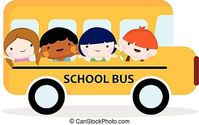 autocarro, escola, ir, crianças, enchido