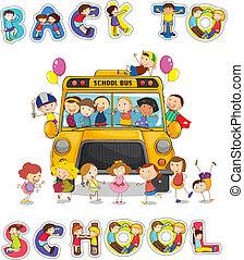 autocarro, escola, palavra, costas, inglês