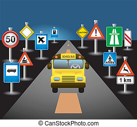 autocarro, escola, sinais