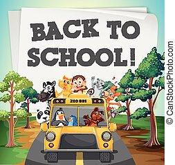 autocarro, escola, tema, animais, costas