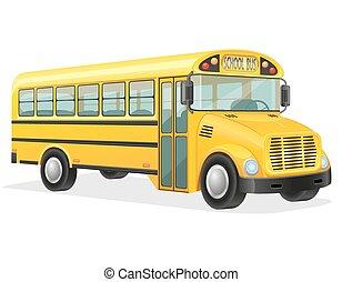 autocarro, escola, vetorial, ilustração