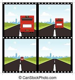 autocarro, escorregar, costas, vermelho, mostrar