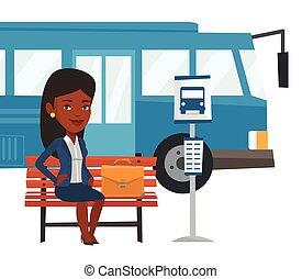 autocarro, esperando, negócio mulher, stop.
