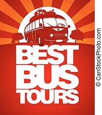 autocarro, excursão, desenho, template., melhor