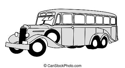autocarro, ilustração, fundo, vetorial, retro, branca