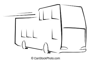 autocarro, ilustração, símbolo, vetorial