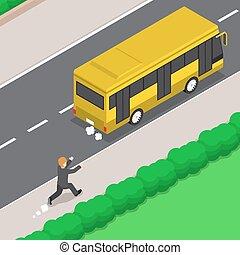 autocarro, isometric, corrida homem negócios, seguir