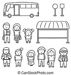autocarro, jogo, vetorial, parada