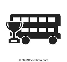 autocarro, londres, aprendizagem, ícone