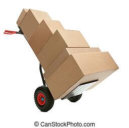 autocarro mano, con, scatole cartone