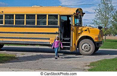 autocarro, menina, escola, obtendo