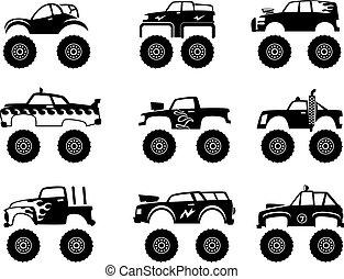 autocarro mostro, automobile., grande, pneumatici, e, ruote, via strada, cartone animato, automobile, giocattolo, per, bambini, vettore, monocromatico, nero, illustrazioni, isolato