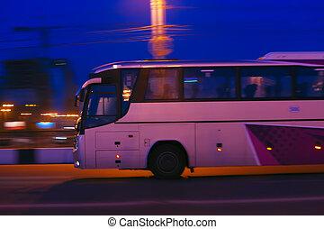 autocarro, move-se, noturna