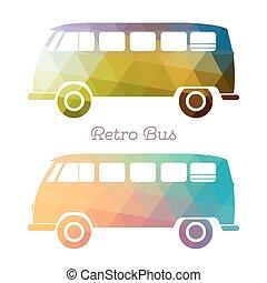 autocarro, multicolor, retro