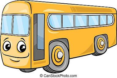 autocarro, personagem, caricatura, ilustração