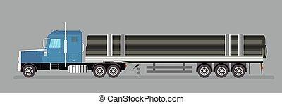 autocarro roulotte, vehicle., acciaio, tubi per condutture, lungo, trasporti