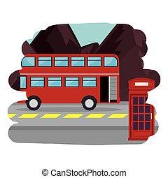 autocarro, rua, londres, cena