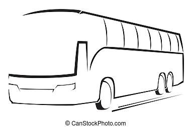 autocarro, símbolo, vetorial, ilustração