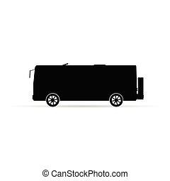 autocarro, silueta, em, pretas, vetorial, ilustração