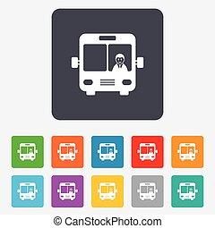 autocarro, sinal, icon., transporte público, símbolo.