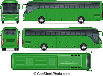autocarro, vetorial, verde, mockup