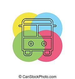 autocarro, viagem, ilustração, símbolo, vetorial, lançadeira