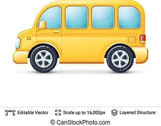 autocarro, white., amarela, isolado