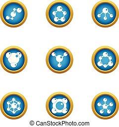 Autochemistry icons set, flat style