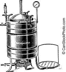 Autoclave or digestor used for sterilizing by steam under pressure, vintage engraving.