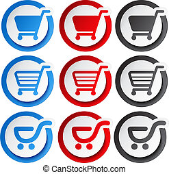 autocollant, achats, bouton, chariot, vecteur, article, ...
