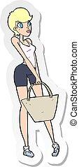 autocollant, achats femme, séduisant, dessin animé