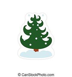 autocollant, arbre, neige, papier, fond, blanc