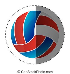 autocollant, balle, silhouette, volley-ball, coloré