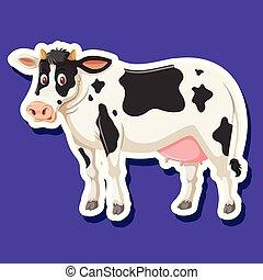 autocollant, caractère, vache