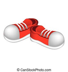 autocollant, chaussures, rouges, icône