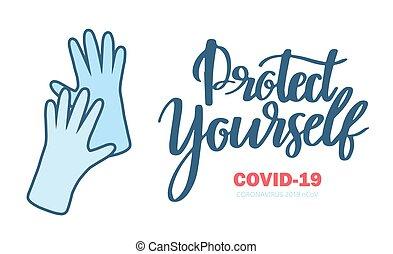 autocollant, content., vous-même, coronavirus., média, protéger, social