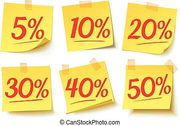 autocollant, discounts., vente, intérêt