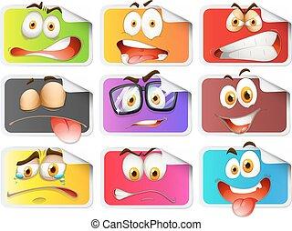 autocollant, expressions, facial