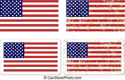 autocollant, grunge, drapeau etats-unis