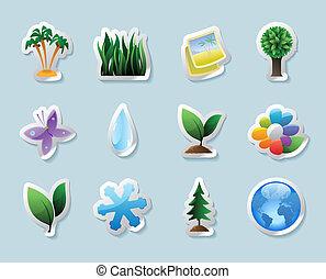 autocollant, icônes, nature