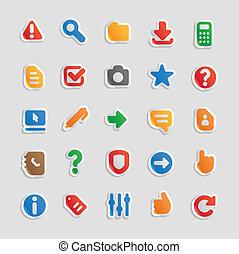 autocollant, icônes, pour, interface