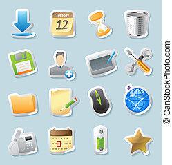 autocollant, icônes, pour, signes, et, interface
