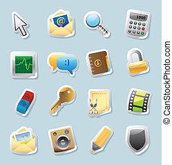 autocollant, icônes, signes, interface