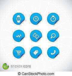 autocollant, icônes