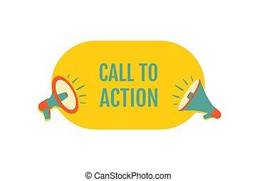 autocollant, illustration, action., vecteur, appeler, speech., advertising., conception, promotion, porte voix, bulle, ou, print.