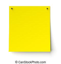 autocollant jaune, étiquette, blanc