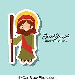 autocollant, joseph, saint