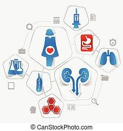 autocollant, médecine, infographic
